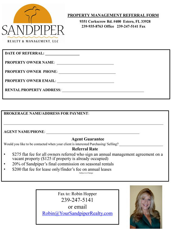 Property management referral program sandpiper realty for Property management documents forms