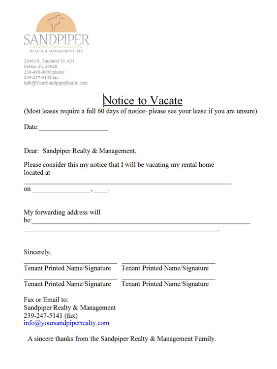 Notice To Vacate Sandpiper Realty Amp Management